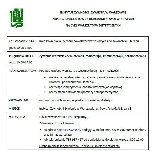 plan warsztatów dietetycznych