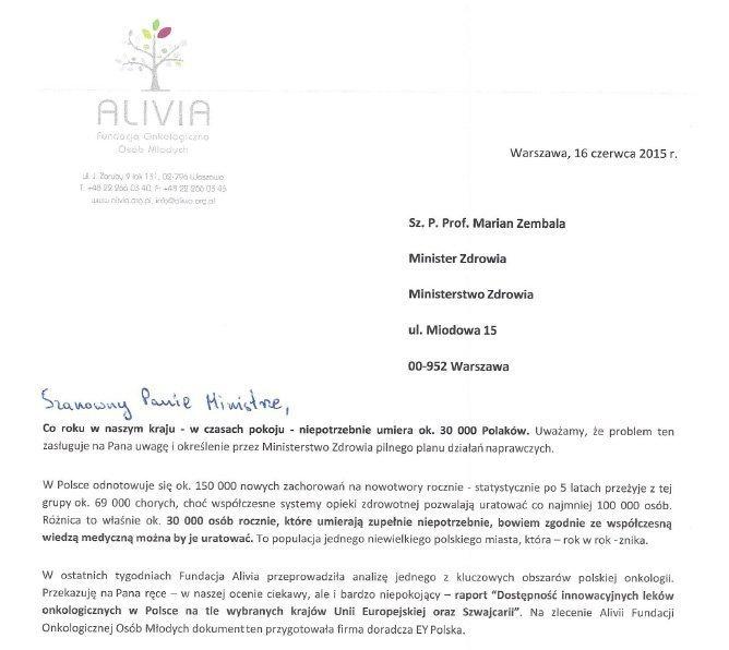 list do ministra zdrowia