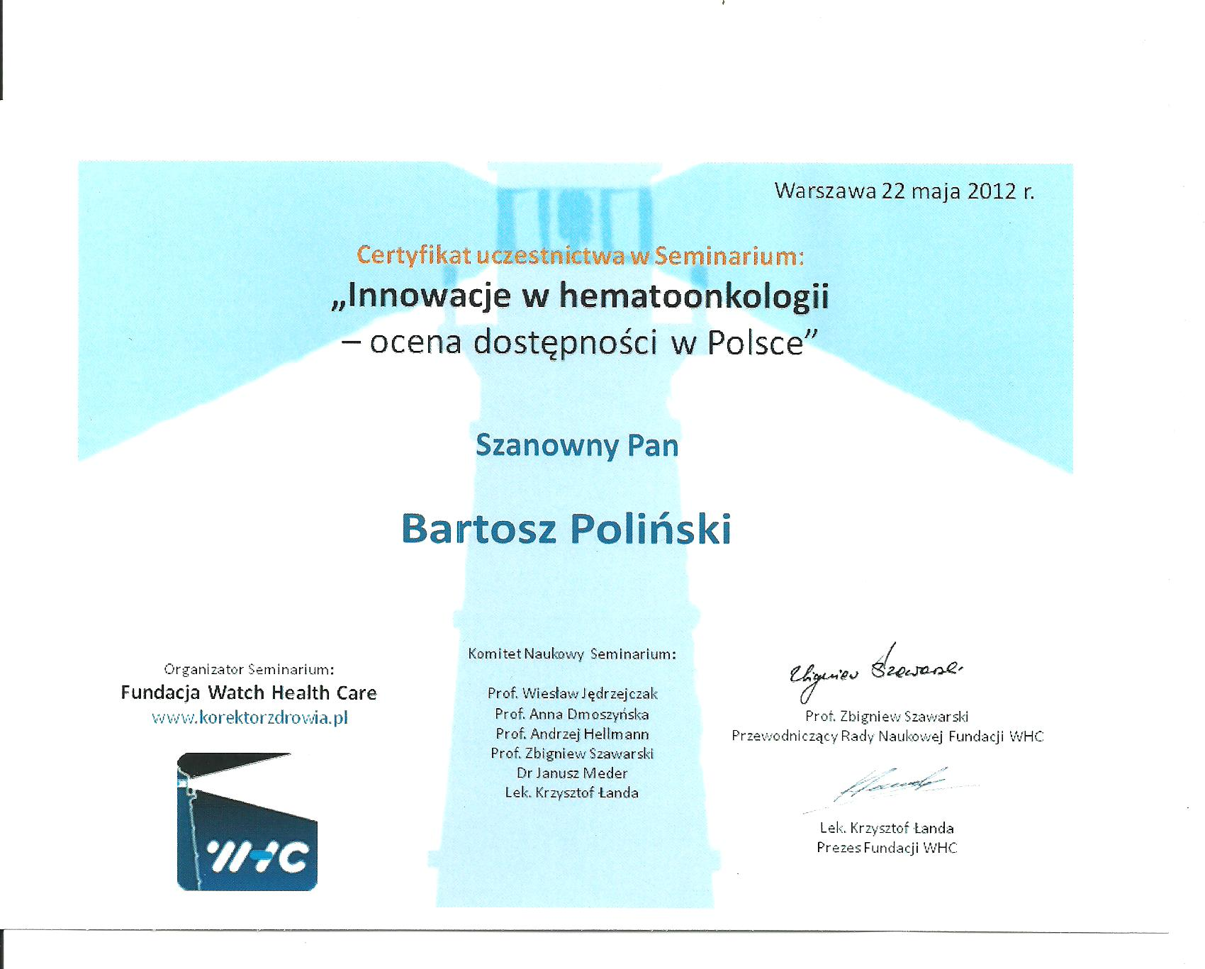 certyfikat uczestnictwa w seminarium
