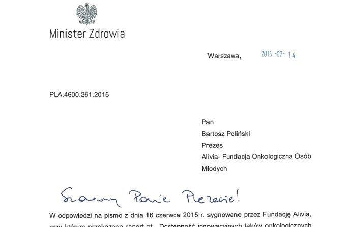 odpowiedź ministra zdrowia na list otwarty