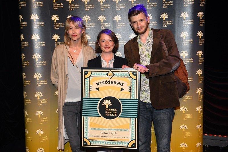 agata polińska i adam bednarski na gali rozdania nagród kampania społeczna roku 2015