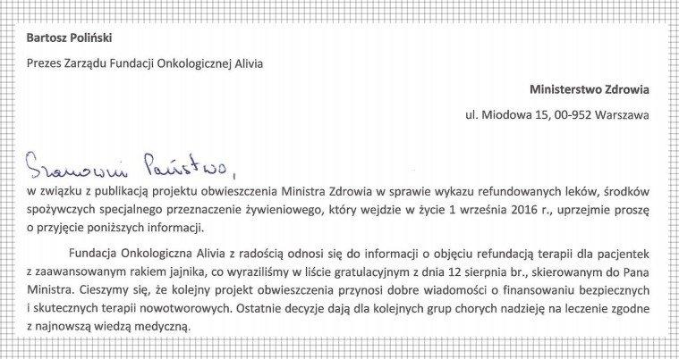 stanowisko alivii w sprawie projektu listy refundacyjnej