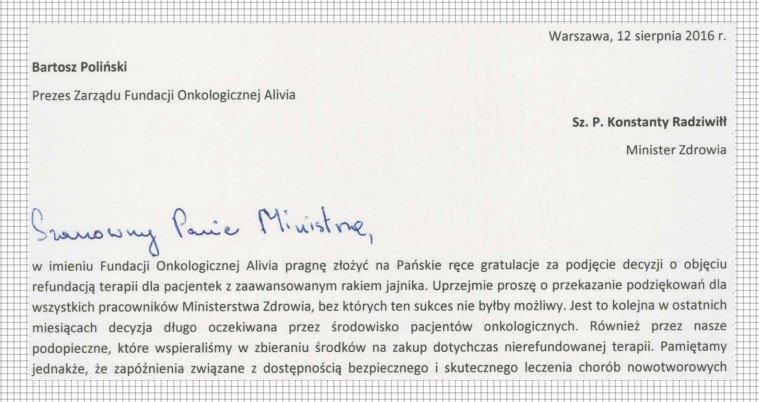 pismo fundacji alivia do ministra zdrowia