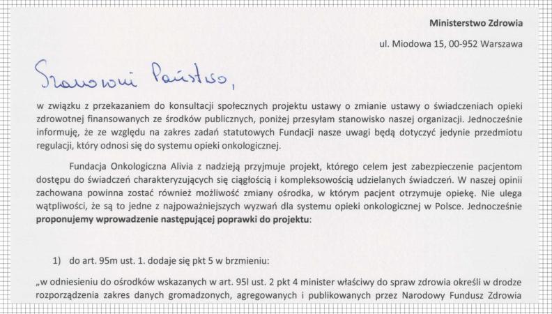 ustawa o sieci szpitali pismo fundacji alivia
