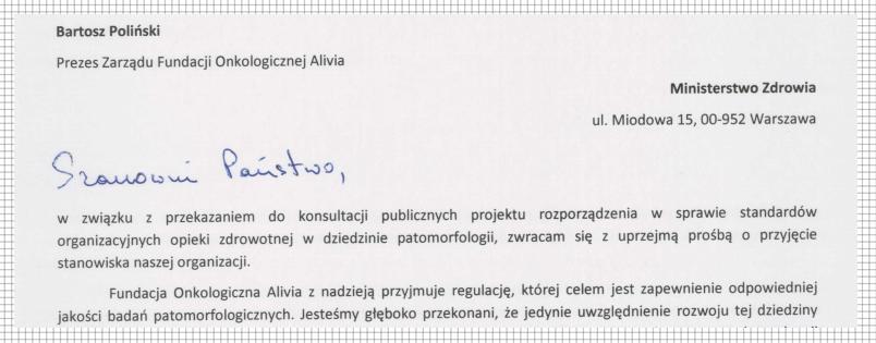 stanowisko fundacji alivia do projektu rozporządzenia dotyczącego patomorfologii