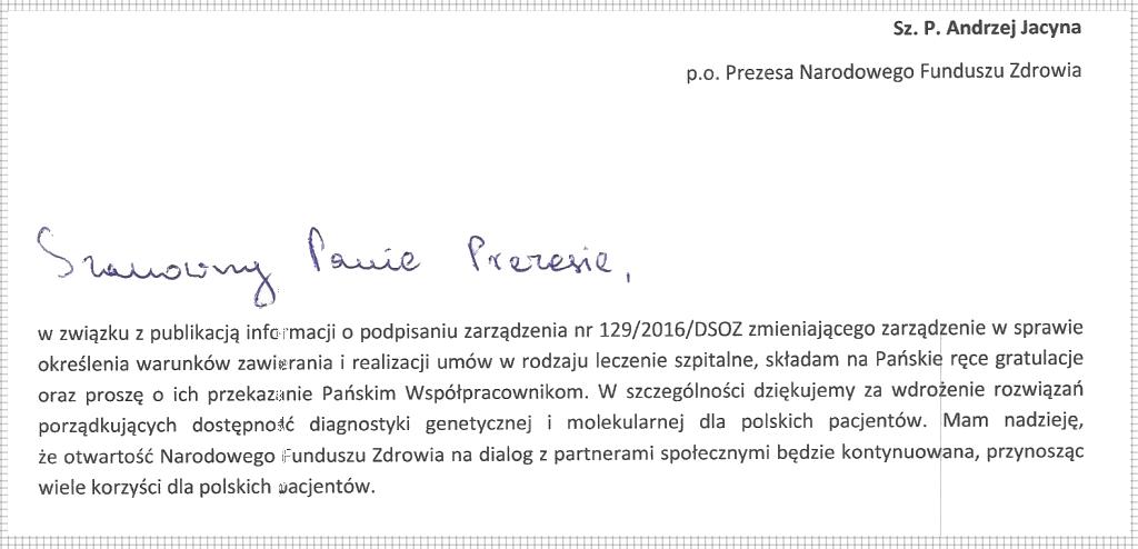podziękowanie dla ministra zdrowia