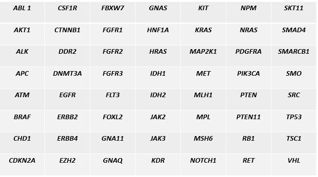 tabela genów panel oncofull