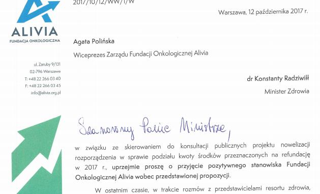 pismo od fundacji alivia do ministra zdrowia