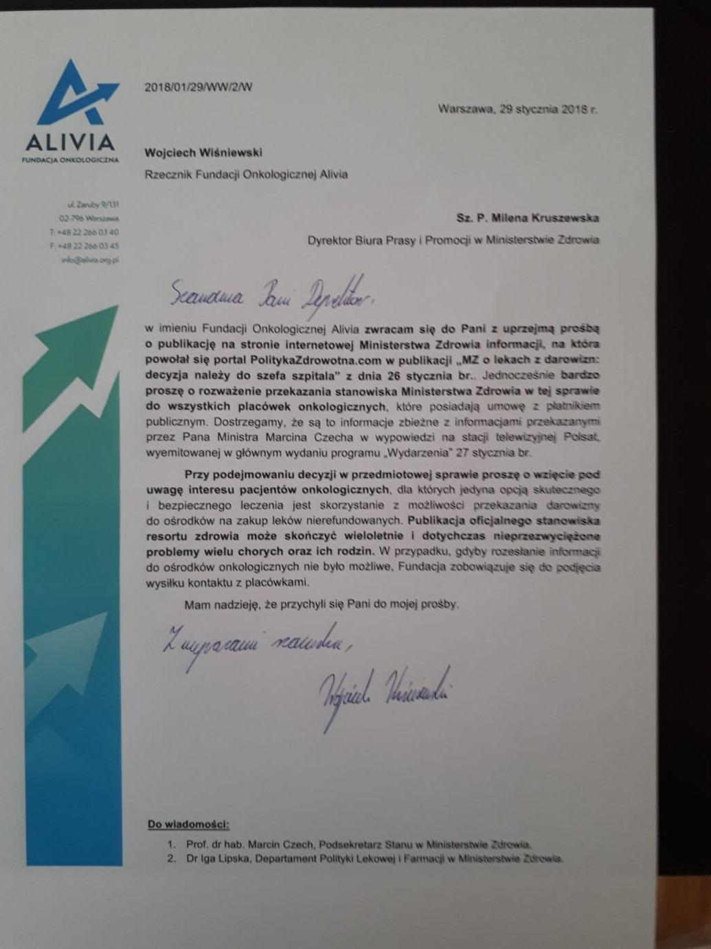 pismo od fundacji alivia