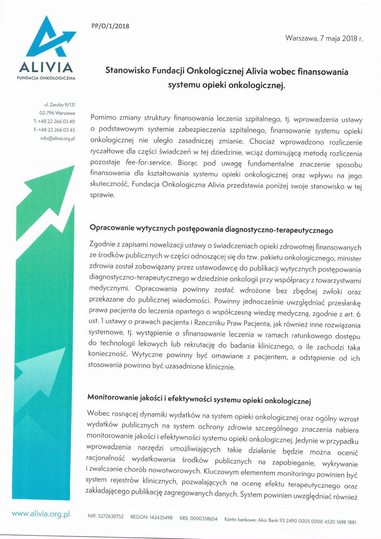 Stanowisko Fundacji Alivia ws. zamiennictwa leków biologicznych oraz finansowania systemu opieki onkologicznej