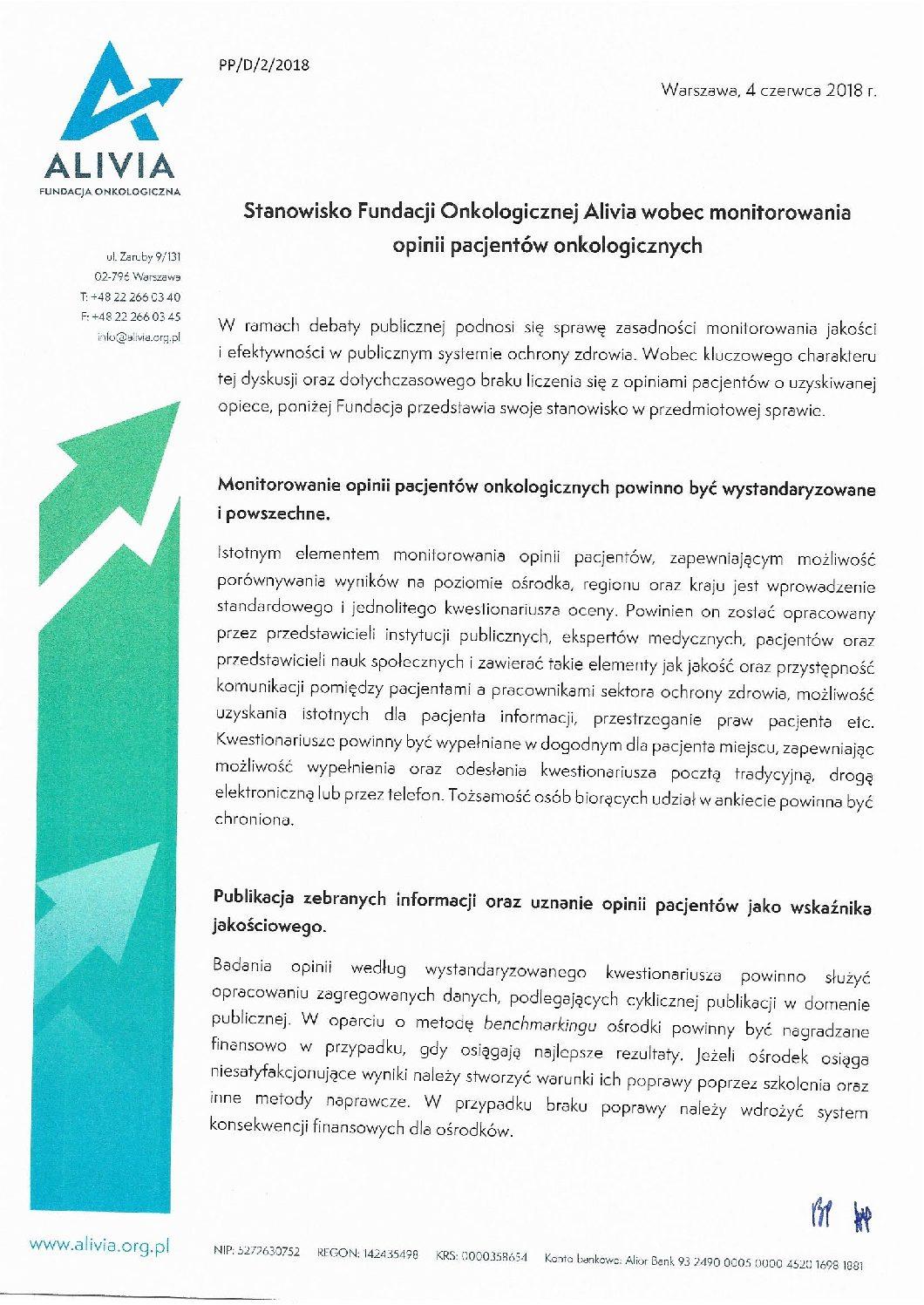 Stanowisko Fundacji Alivia ws. zapewnienia instytucjom publicznym zasobów do kreowania polityki zdrowotnej oraz monitorowania opinii pacjentów